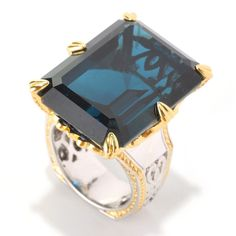 "Michael Valitutti Palladium Silver Octagon London Blue Topaz & Blue Sapphire ""New Yorker"" Ring ("