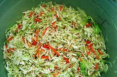 canning coleslaw??? a pinner wrote: Sherri Frye  I used this recipe to home can 14 pints of coleslaw last summer. Plain from the jar, it tastes like a marinated cabbage salad. Drain it and add some mayo, and it is just like deli coleslaw. Yes, it does keep its crunch. This is a great recipe.