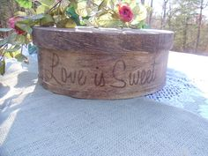 Rustic Wedding  Wood Cake Stand   Love is by willowroaddesigns, $60.00