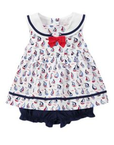 Gymboree NWT 2-pc White SAILOR BABY BOATS BOW STRIPE PARTY DRESS 0 3 Months