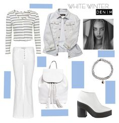 """""""Winter White Denim"""" by tessawarongan on Polyvore featuring J Brand, Topshop, Versace, Rebecca Minkoff, Sol Sana and Accessorize"""
