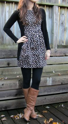 black/white or leopard dress, black tights, brown boots, black cardigan
