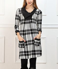 This Black & White Plaid Pocket Dress - Women is perfect! #zulilyfinds