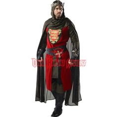 An eye-catching adult costume ideal for the battle field or the royal courts, the Mens King Richard Costume offers a fantastic medieval ensemble equally perfect for the Renaissance fair, the stage, or Halloween parties. Medieval Knight Costume, Renaissance Costume, Renaissance Clothing, Renaissance Fair, Historical Clothing, Historical Photos, Adult Costumes, Halloween Costumes, King Costume