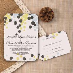 affordable grey & yellow flower bohemian ticket shape wedding invitations EWIr343 as low as $1.04