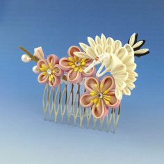 Crane and Ume Comb by Arleen