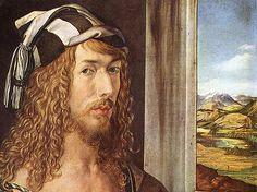 Albrecht Dürer autoportrait(détail) (Madrid, Musée del Prado). Dürer se complait dans son propre aspect, soigné jusqu'au narcissisme dans chaque détail de l'habillement, coiffure, pose. Il faut noter la volonté de se présenter sous l'aspect d'un jeune représentant sophistiqué de la bonne bourgeoisie. Dans ses lettres et autres écrits, Dürer a plusieurs fois souligné que le niveau social et économique des artistes allemands était très différent de celui des artistes italiens.