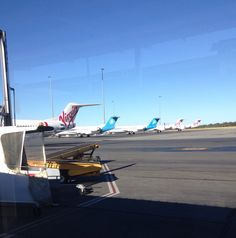 Five Virgin Australia and Skywest Fokker 100's lined up ready for a big day