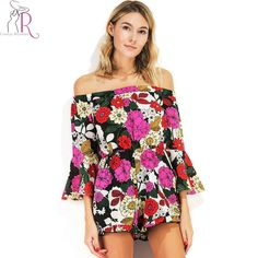 Multicolor Floral Print Off Shoulder Playsuit Women Three Quarter Flare Sleeve Ruffles Hem Sumemr Beach Short Romper