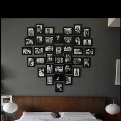 Photo frame wall arrangement idea