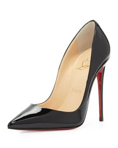 Christian Louboutin So Kate Suede Red Sole Pump, Black.  neimanmarcus.com