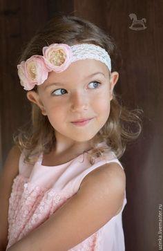 """Повязочка для волос с цветами по мотивам """"Элегия"""" - бледно-розовый, розовые розы, повязка на голову"""