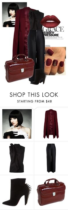 """""""Black Monday!!"""" by thomdl95 on Polyvore featuring WigYouUp, WithChic, MM6 Maison Margiela, Joseph, Christian Louboutin, Siamod and Lime Crime"""