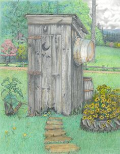 Outhouse Drawing - Outhouse Fine Art Print