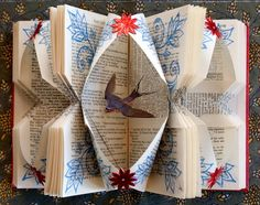 Rachael Ashe Created A Lovely Altered Books Art. Paper Birds, Paper Flowers, Book Crafts, Paper Crafts, Art Altéré, Altered Book Art, Book Sculpture, Book Folding, Book Projects