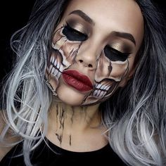 Freakishly Scary Halloween Makeup Looks und Ideen, die die Haut krie … - Make-up Geheimnisse Halloween Makeup Looks, Scary Halloween, Halloween Stuff, Halloween Carnaval, Tesco Halloween, Halloween Skeleton Makeup, Halloween Costumes, Halloween Ideas, Scary Makeup