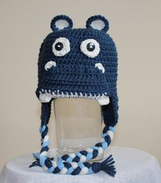 Hugo the Hippo Animal Hats, Crochet For Kids, Custom Design, Infant, Crochet Hats, Unique, Handmade, Animals, Knitting Hats