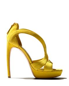 Burst of Resort Yellow with Alexander McQueen Suede Cutout Sandal