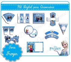 "Convites Digitais Simples: Kit Digital Aniversário ""Frozen Disney-Uma aventur..."