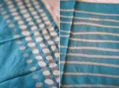 Time: 1 hour Materials: Cloth, bleach, q-tip/or paint brush Before you begin, make sure you are in a well ventilated area and that you have something between the cloth and… Diy Craft Projects, Sewing Projects, Craft Ideas, Textile Dyeing, Dyeing Fabric, Custom Napkins, Textiles, How To Dye Fabric, Diy Clothing