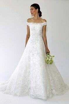 Lace Off Shoulder Wedding Dress | Oscar de la Renta | The Best of Bridal Fashion Fall 2015