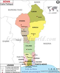 Map of Benin. Capital: Porto Novo. Languages: French (official