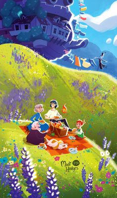 howl's moving castle Studio Ghibli anime animation field flowers violet indigo picnic green yellow blue cyan sky grass nature