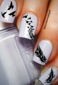 Feather Nails, Diy Nail Designs, Nagel Gel, Stylish Nails, Flower Frame, Nail Inspo, Diy Nails, Pretty Nails, Makeup
