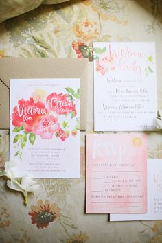 Julie Song watercolor invitations, photography by Adrienne Gunde Photography || Style Me Pretty
