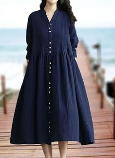 de algodón Llanura Manga larga Midi Casuales Vestidos