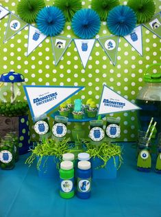 "Photo 1 of Monsters Inc. / Movie theme ""Monsters University kick-off party"" Monster University Birthday, Monster Birthday Parties, First Birthday Parties, Birthday Ideas, 2nd Birthday, Monster Inc Party, Mike E Sulley, Deco Table, Just In Case"