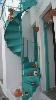 iron stair in greek island painted acqua