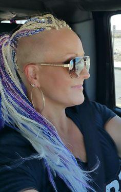 White girl braids Mohawk platinum best hair ever