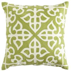 Living Room White Chair Pillow:  Spring Garden Embroidered Tile Pillow ; $29.95/ea