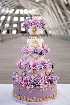 Purple Regal Wedding Cake