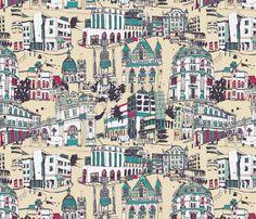 London Sketches fabric by teja_jamilla on Spoonflower - custom fabric