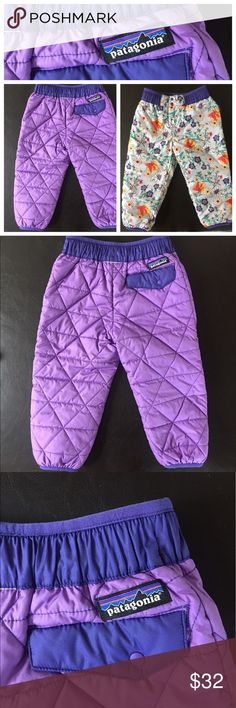 Patagonia Toddler Reversible Snow Pants, 2T Patagonia Toddler Reversible Snow Pants, 2T, purple/flower print, elastic waist, snap/Velcro fly. Adorable!  Matches nicely with the toddler fleece mittens in my closet! Patagonia Bottoms Casual