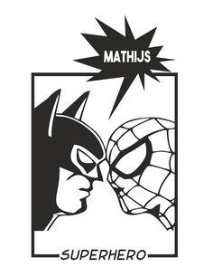 Muursticker SPIDERMAN VS BATMAN Hoe stoer deze superhelden op de muur en ze roepen jouw naam.