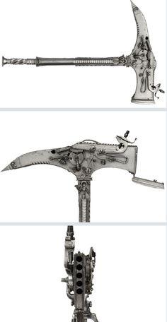 Early 17th Century Combination warhammer and warpick/six shot gun.