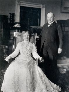 President William McKinley with his wife and First Lady Ida Saxton McKinley (June 1847 – May wife of William McKinley, was First Lady of the United States from 1897 to of the United States From Pin Board Presidents Wives, American Presidents, American History, Obama Daughter, Presidential History, Presidential Portraits, William Mckinley, American First Ladies, American Women