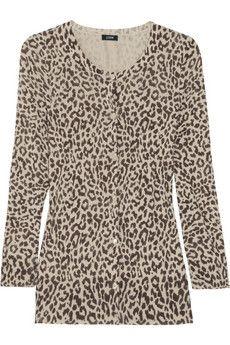 J.Crewleopard print cotton cardigan