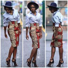 Sapelle.com African print pencil skirt pairs up nicely with this boyfriend striped shirt and felt hat. Add killer heels to complete the look. #africanfashion #streetstyle #ootd