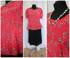 Vintage Blouse / Red Blouse  1980 80s / Elegant /Secretary Blouse / Office Blouse Patterns / Vintage Fashion /Floral blouse Size M medium