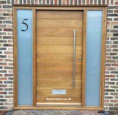 contemporary oak door and sidelights