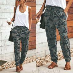 Harem Trousers, Trousers Women, Camo Pants Outfit, Jogger Pants Outfit Dressy, Women Joggers Outfit, Camo Yoga Pants, Army Pants, Camouflage Pants, Cute Pants