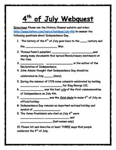 a quick and easy independence day webquest utilize the history channels video and description of - Halloween Web Quest