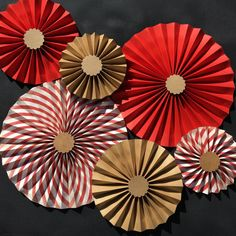 Kraft Brown and Red Paper Rosettes Paper Fans by PicketFenceArts