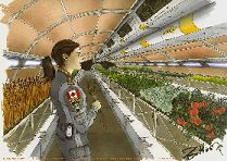 One of the keys to maintaining colonies in space is the ability to produce food.  More detail can be found here;  http://www.permanent.com/space-colonization-ecology-celss.html