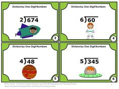 FREE!! Division: Free Dividing by One-Digit Number Task Cards: Here are a set of six printable division games math task cards for Grade 4 and 5. Students will practice division with a one-digit divisor and 2-3 digit dividends. A student response division form and answer key are also provided.