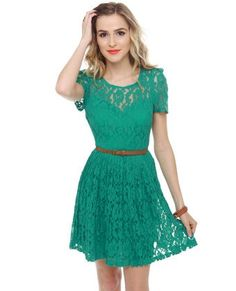 Spend an afternoon picking wildflowers in the Floral Engagement Teal Lace Dress! Lace dress has sculpted sleeves and a sweetheart silhouette. Cute Lace Dresses, Pretty Dresses, Short Sleeve Dresses, Pretty Outfits, Cute Outfits, Costume, Mode Inspiration, Belted Dress, Playing Dress Up